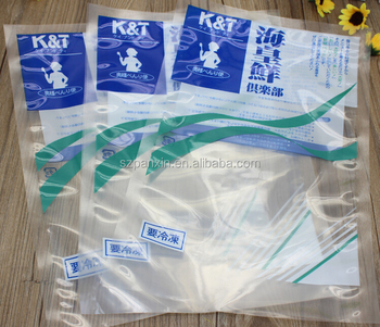 custom printed transparent vacuum nylon bag for seafood