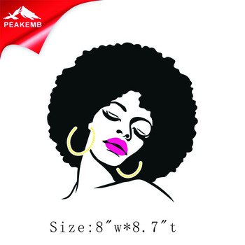 Direct order 25pcs beautiful Afro girl heat transfer printing iron on