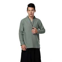 Latest Retro Collar Button Traditional Chinese Men's Linen Casual Shirts Tops