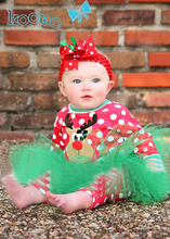 new red with white polka dots tops+green tutu legging skirts 2pcs christmas clothing for girls