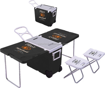 Hot Sale Foldable Table Cooler Box with Wheels