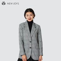 Wholesale Custom Casual Suit Gray Ladies Plaid Stripe Fashion Double Breasted Elegant Blazer Women