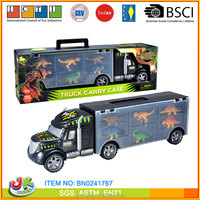 Friction Plastic Truck Carry Case Container Truck Toy With Dinosaur