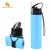Multiple Colors FDA ECO BPA Free 750lm Smart Travel Wide Mouth Drinking Plastic Outdoor <strong>Sports</strong> Foldable Silicone Water Bottle