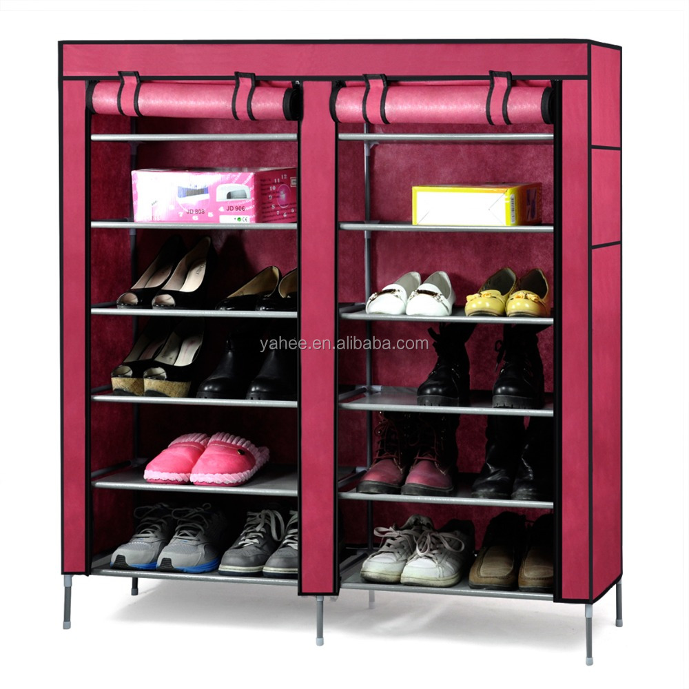 6-Tier 2 Rows Doors Shoe Cabinet Rack Large Shoes Stand Storage Organizer