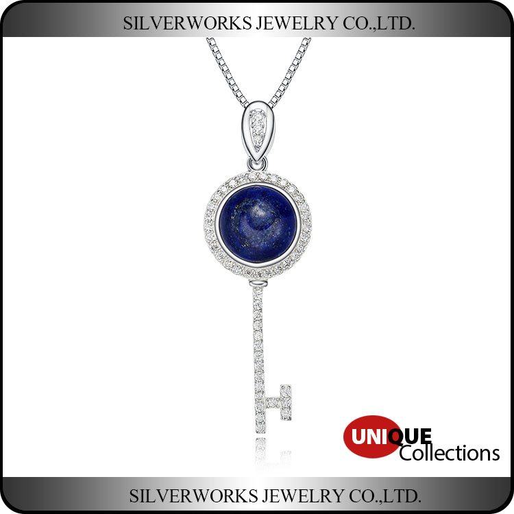925 Sterling Silver Key Pendant With Sapphire Stone and Zicrons