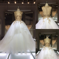 THX7762J 2015 Real sample Luxurious gold lace beaded with crystal wedding dress wedding gown in stock