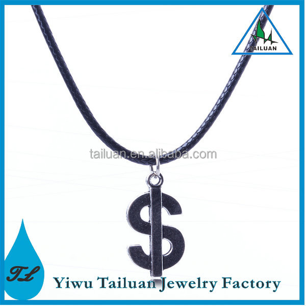 Fashionable Dollar Sign Leather Necklace
