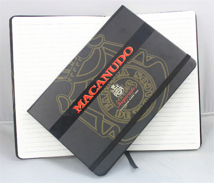 Beautifully made notebook with elastic band closure and silk ribbon bookmark,paper cover note book with UV logo