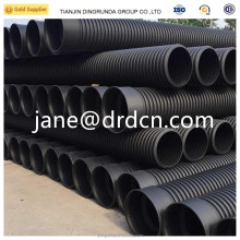 SN4 corrugated pipe black color hdpe large diameter double wall corrugated pipe