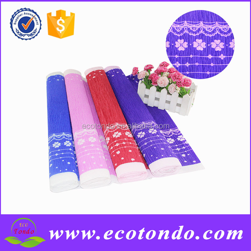 Stock 50cmx250cm new design flower packing crepe wrapping paper