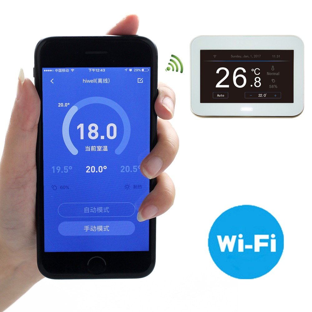 Weekly programming lcd touch screen digital display floor heating wifi thermostat