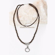 NYC015004 Long Leather Silver Plated Chain Multi Strands Necklace Wood Beads Choker Tassel Laying necklace