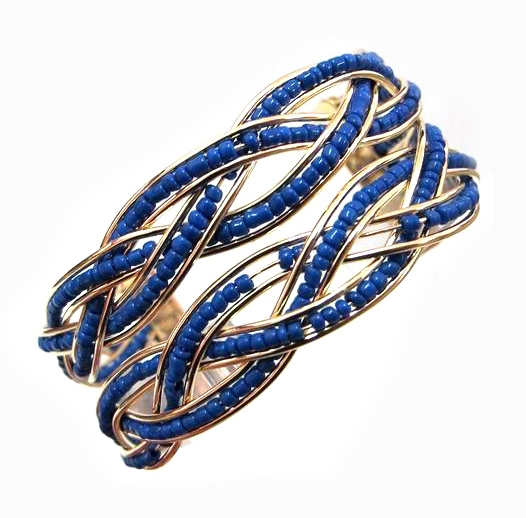 Bohemia Style Handmade Gold Plated Braided Cuff Bangles For Women