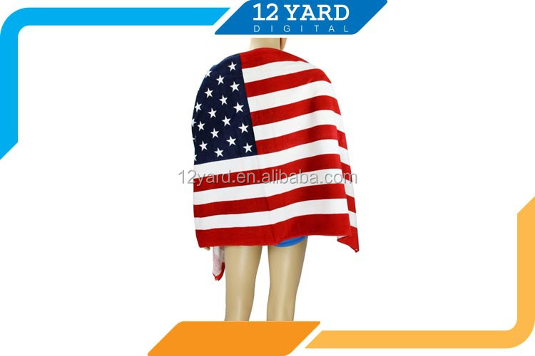 China Promotion high quality sublimation printing hotel shower towel quick-dry USA flag beach towel