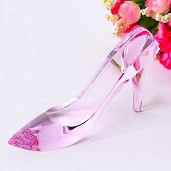 Pink crystal shoes for wedding and souvenir gifts
