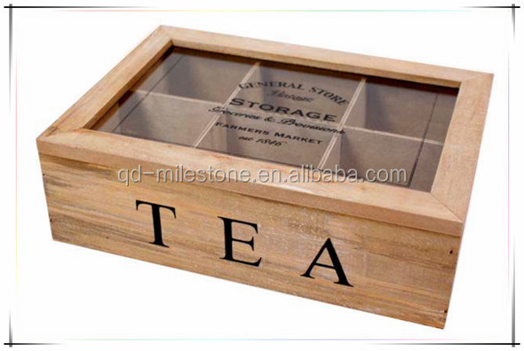 Super Quality Wood Tea Box with Glass Lid