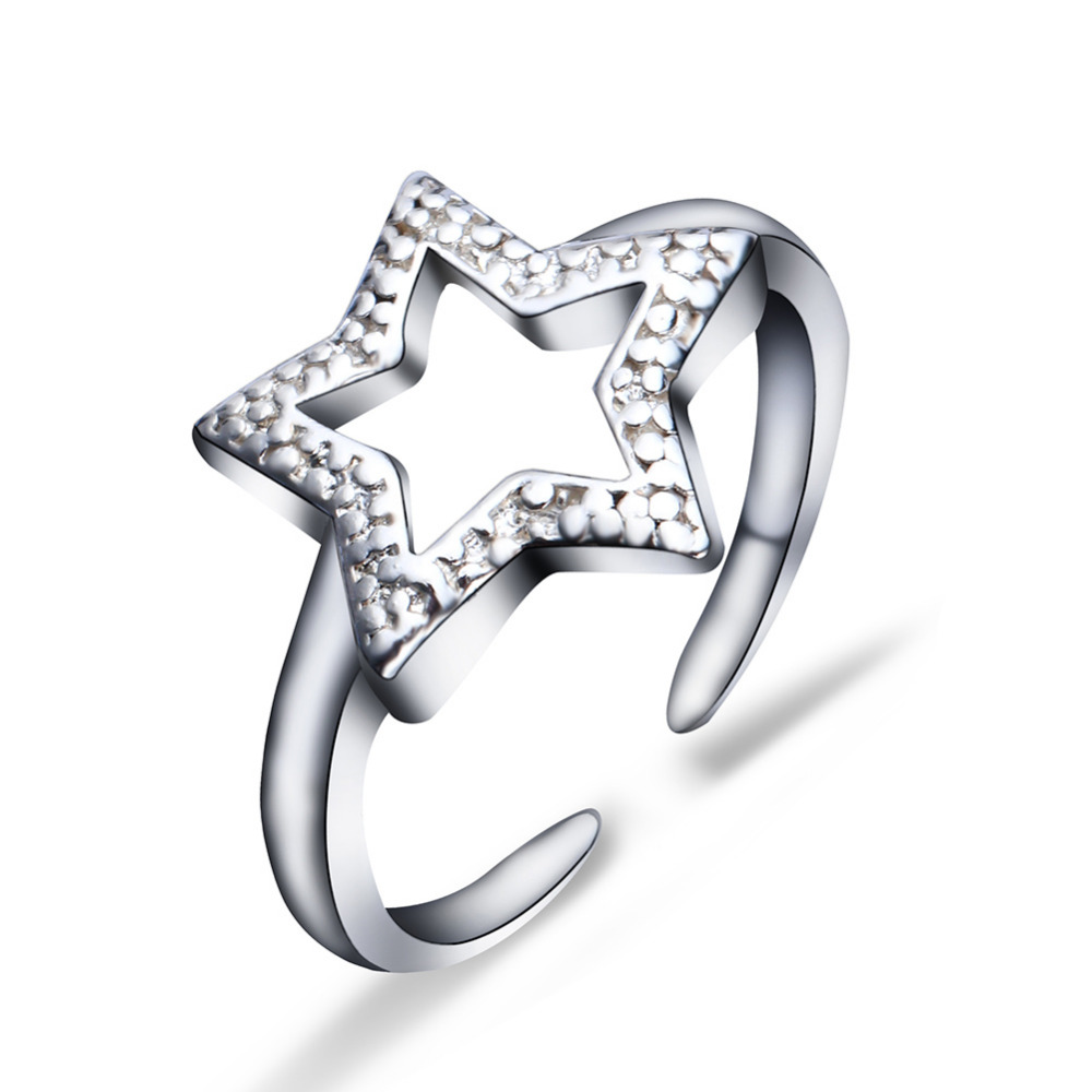 Wholesale !!! 2016 Alibaba silver plated adjustable size rings unisex five-pointed star design