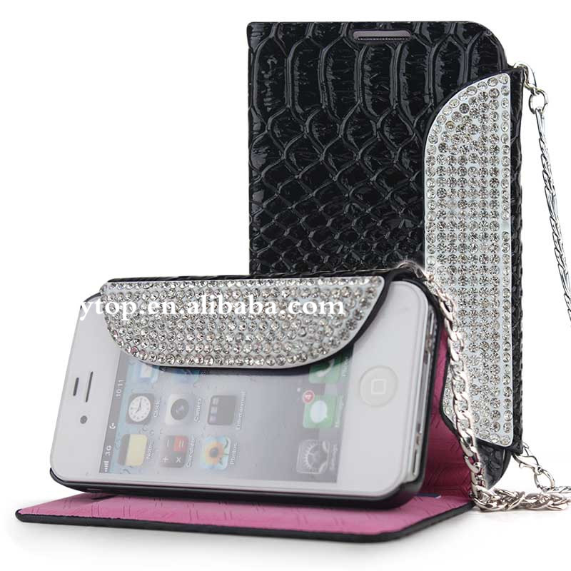 bling luxury leather flip case for iphone 4/4s, leather wallet case for iphone 4/4s with belt clip