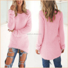 Ladies Chunky Fuzzy Knit Pullover Long Mohair Sweater