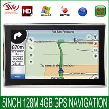 "5"" hd car truck Gps navigation Windows ce 6.0 FM 128M 4GB Vehicle navigator for 2016 global maps"