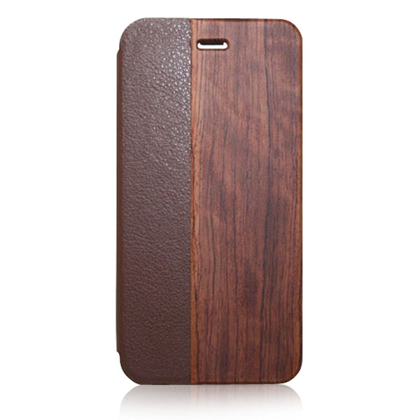 2016 New bamboo wooden leather phone book case for iphone 6 plus