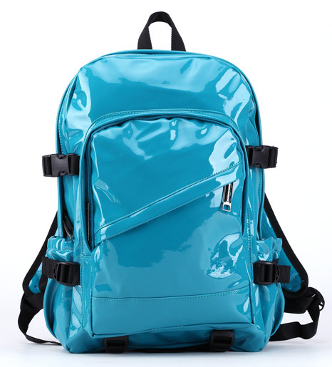 patent PU shiny leather backpacks for school students