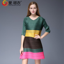 Short love pleated stripe patchwork designs for dresses lady dress v neck designs