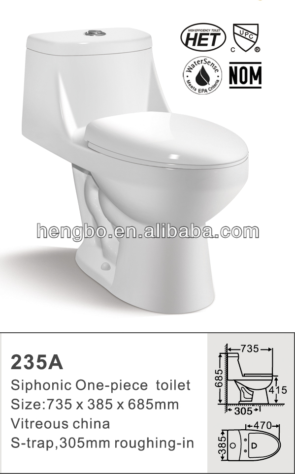 sanitary ware siphonic one-piece toilet 235a