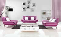 Bisini Purple Leather Sofa Furniture Set, Living Room Genuine Leather Sofa Set Furniture
