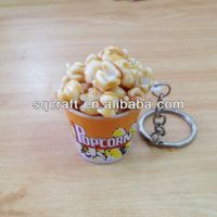 2014 Super popcorn in mini papercup keychains/keyrings/Promotional gifts series/Popcorn toys for children
