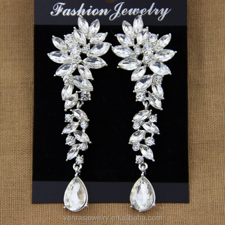Wedding Jewelry Full Crystal Rhinestone Birdes Accessories Long Drop Earrings