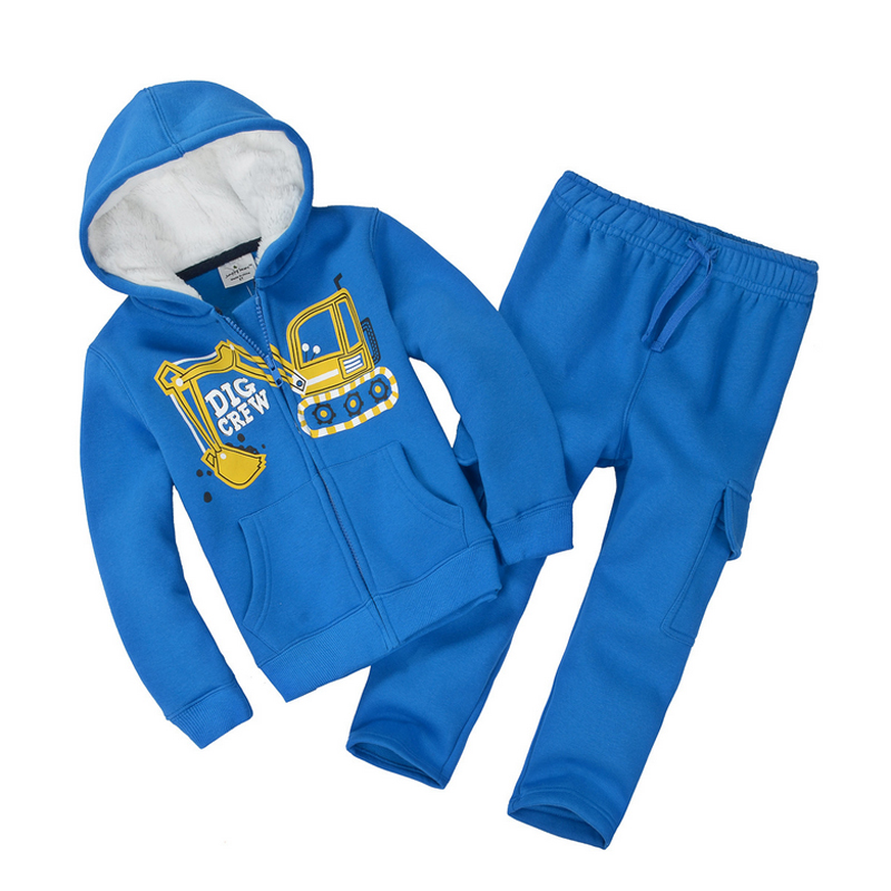 Hot sell boys girls children winter wool baby sports suit jacket sweater coat & pants thicken kids clothes set