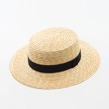 natural custom school gift straw boater hat cheap wheat wide brim straw hat with bow