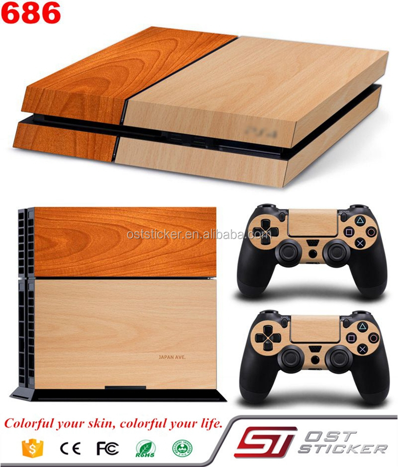 Wooden Grain Vinyl decal skin stickers for PS4 console and controller