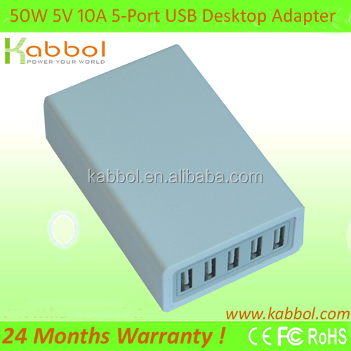 Kabbol 50W 5V/10A 5-Port USB Wall Charger Travel Kit With Interchangeable Plugs (US, UK, EU, AU) For iPhone / iPad / iPod & Andr
