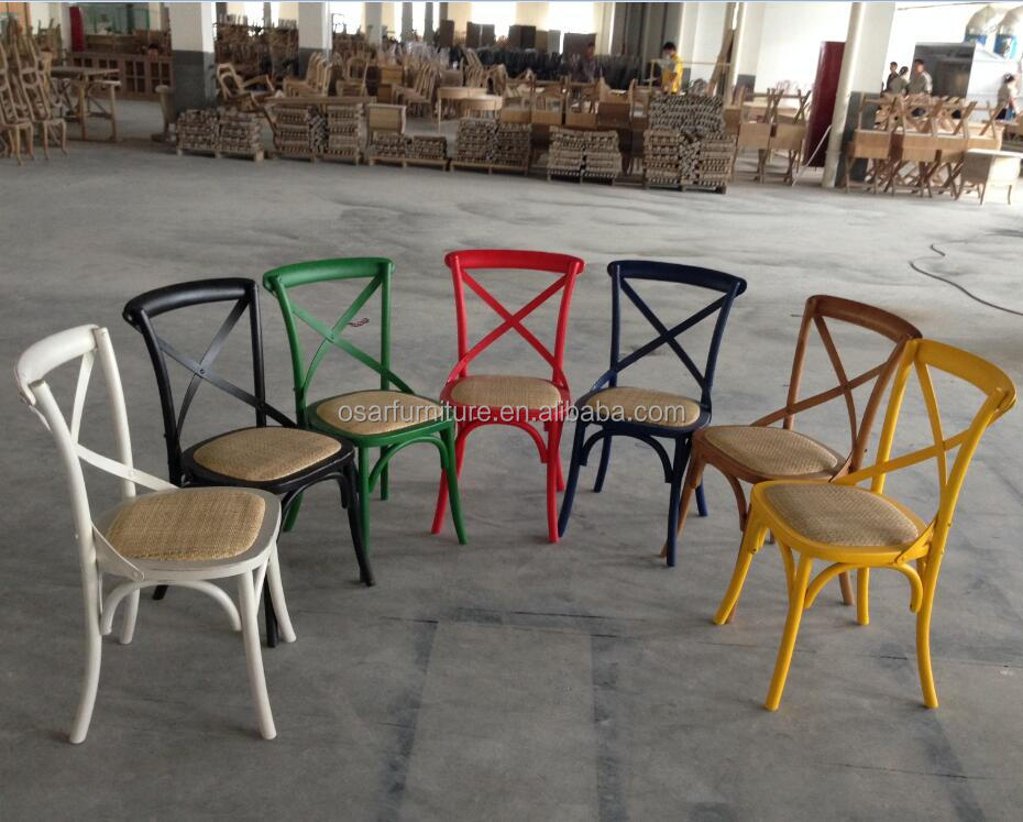 Factory Direct Wholesale Colorful Antique Wood Cross X Back Chairs