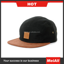 Leather Patch Flat Brim Custom Wholesale 5 Panel Hat And Cap