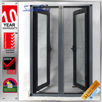 Double panels french casement aluminium mosquito net window with retractable flyscreen