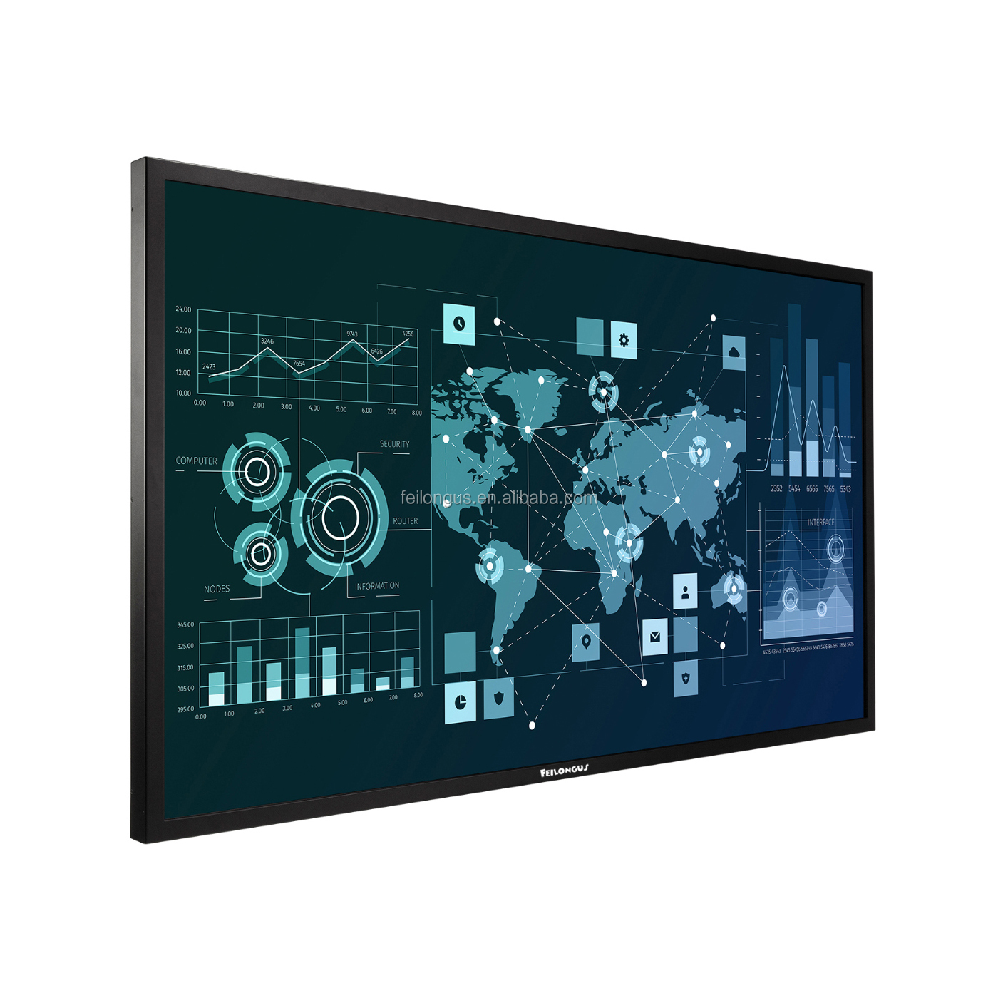 98 Inch FL-8498TP-TB Interactive Smart Touch Flat Panel Screen For Conference; Phones, Tablets And All-In-One Panel To Realize C
