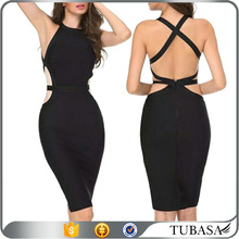 Sexy tight cut out back black sleeveless midi bodycon dress