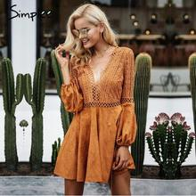Simplee 2017 autumn winter hollow out flare sleeve backless sexy lace up v neck suede party dress