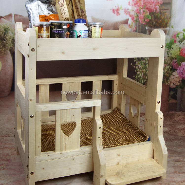 Natural style modern design dog house waterproof wooden dog kennel with bed with commodity shelf