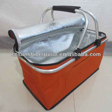 plain 600D polyester folding cooler basket with aluminum handle