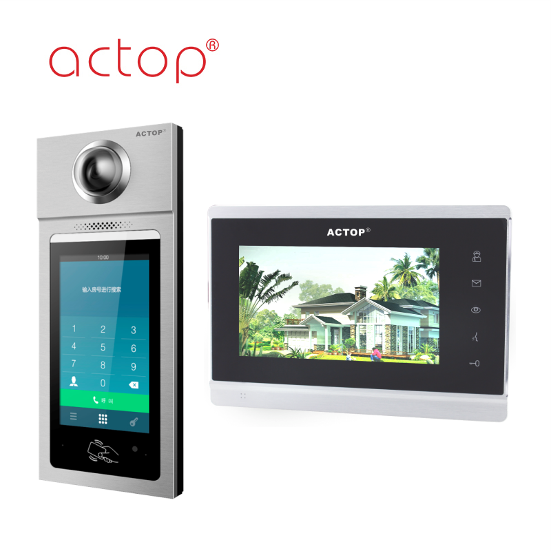 ACTOP 7 Inch display TCP/IP SIP Door Phone building intercom System