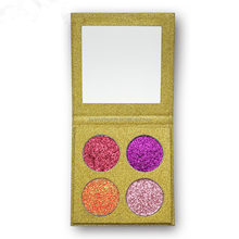 Hot sale products no logo cosmetic shimmer small eyeshadow 4 colors glitter makeup eye shadow palette with gold cardboard