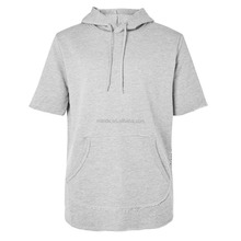 Custom Made 100% Cotton Gym Running Sports Men's Grey Marl Wholesale Sweat Suits Short Sleeve Hoodie
