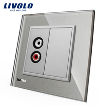 Free shipping Livolo EU Grey Crystal Glass Panel One Microphone and One Video Plug Socket
