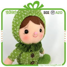 "13"" Eco-friendly safe unique gift handmade wholesale fabric manufacturer plush girl rag cotton doll cute dolls"