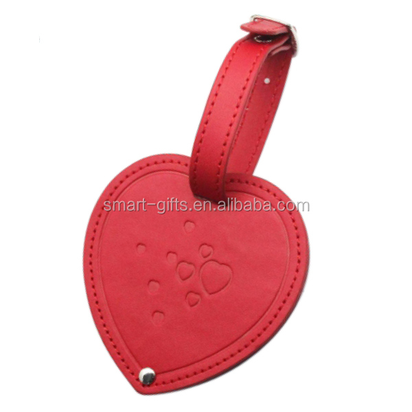 leather heart shape luggage tag